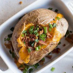 Loaded Baked Potato Made Quickly in the Microwave
